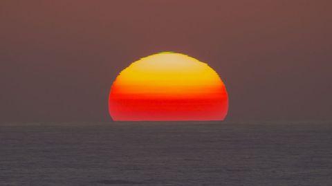 Rayo verde captado a las 22.20 del domingo desde Punta Nariga (Malpica)