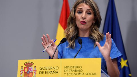 La ministra Yolanda Díaz, en la rueda de prensa donde anunció el acuerdo