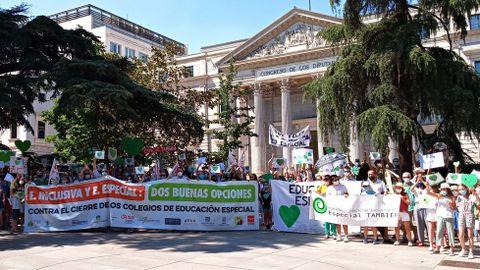 Las familias de los centros de educación especial se manifestaron el pasado día 23 de junio ante el Congreso para exigir el mantenimiento de los servicios