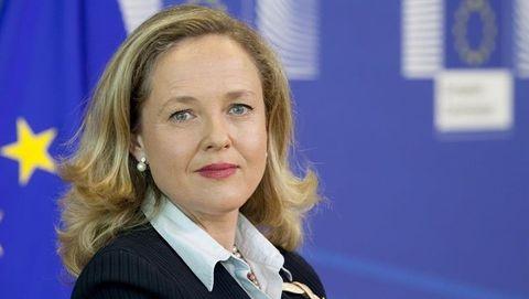 La vicepresidenta del Gobierno, Nadia Calviño, en la sede de la Comisión Europea