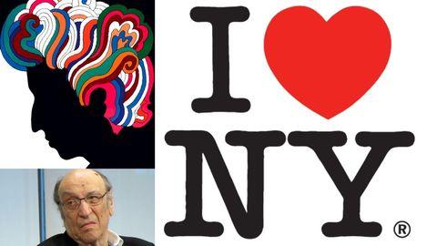 Glaser, con dos de sus trabajos más conocidos, el logotipo de Nueva York y el póster de Bob Dylan