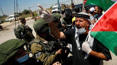 Protesta palestina contra la anexión de parte de Cisjordania