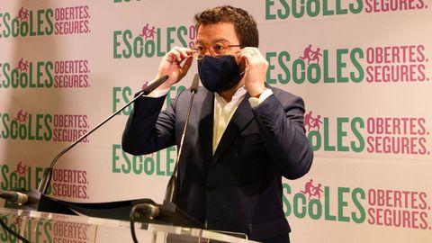 El vicepresidente de la Generalitat, Pere Aragonés, advirtió a Sánchez de que no puede esconderse más y creer que el tiempo resolverá el desafío independentista