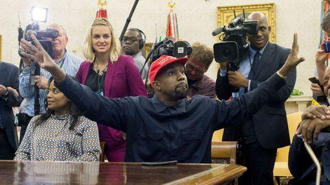 Kanye West, durante una visita al Despacho Oval, en el 2018