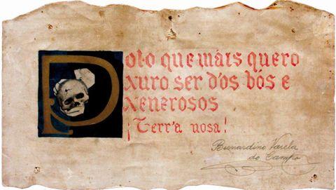 Xuramento das Irmandades da Fala asinado por Bernardino Varela e prestado pola súa filla, Elvira Varela Bao, para a exposición das Irmandades da Fala