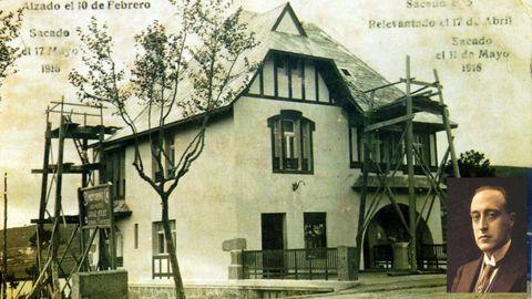 Icono asediado. Así era casa Carnicero, diseñada por González Villar (arriba, izquierda) en 1916 para el industrial coruñés retornado de Cuba, Enrique Carnicero. El chalé de Perillo, al que se le plantó delante el puente de A Pasaxe y al lado un bloque de varias alturas, era una mezcla de modernismo y estilo indiano