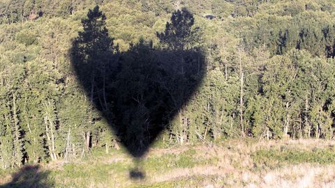 La sombra del globo sobre una zona de espesa arboleda