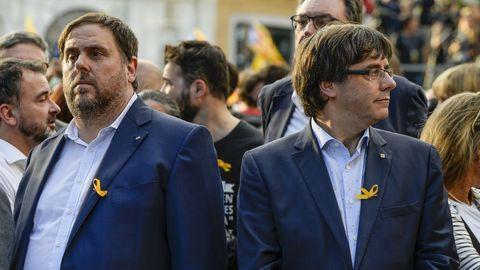 Junqueras y Puigdemont, en un acto celebrado antes de la huida del expresidente a Bélgica