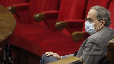 Quim Torra, en el Parlamento catalán este miércoles