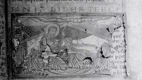 Detalle de la foto que tomó M. Chicharro en torno a 1909 del Sueño de Carlomagno en el Códice Calixtino