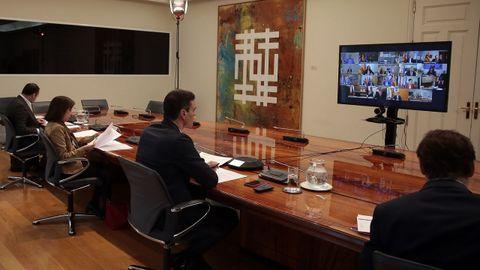 Reunión de Sánchez con los presidentes autonómicos por vía telemática durante el estado de alarma