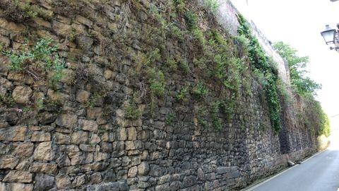 Estado actual de lo que queda de la muralla medieval de Oviedo en la calle Paraíso, un tramo que coincide en su trazado original con la ampliación posterior
