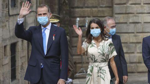 Felipe VI y la reina Letizia durante su visita a Santiago el pasado 25 de julio