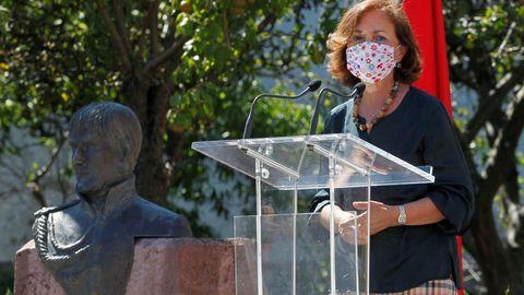 La vicepresidenta primera del Gobierno, Carmen Calvo, durante el acto de conmemoración del bicentenario del pronunciamiento militar del general asturiano Rafael del Riego
