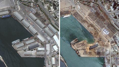 Imágenes de satélite del lugar donde ocurrió la explosión, que dejó un socavón en el muelle