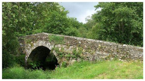 Detalle da ponte vella de Andón, ao paso do camiño polo concello pontevedrés de Forcarei