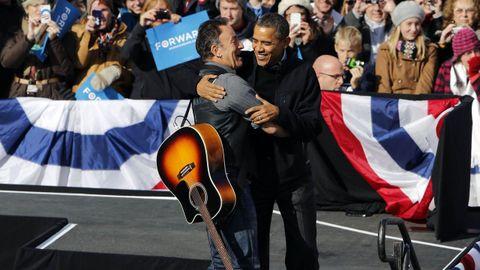 Bruce Springsteen y Obama, en un mitin de campaña en noviembre del 2012
