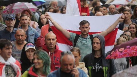 Manifestación de apoyo a la oposición, el miércoles en Minsk