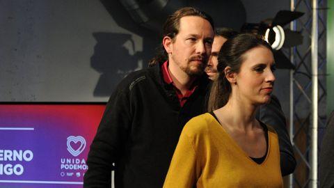 Pablo Iglesias e Irene Montero, en una imagen de la noche electoral del 10 de noviembre del 2019