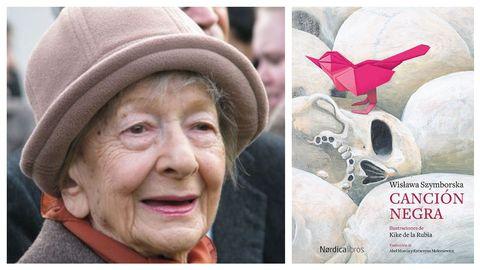 La poeta Wislawa Szymborska (Kórnik, 1923-Cracovia, 2012). A la derecha, portada del libro que reúne sus poemas de juventud