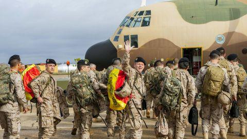 Imagen del 2015 de los militares españoles del séptimo relevo de tropas españolas en la Misión del Entrenamiento de la Unión Europea (EUTM) para Mali