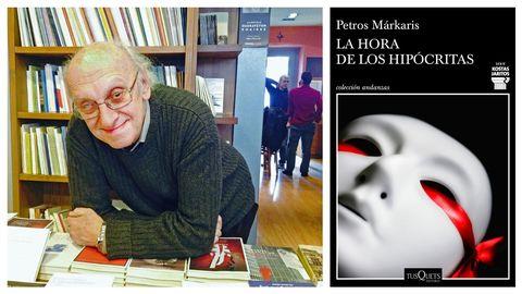 El escritor Petros Márkaris, creador del comisario Kostas Jaritos. A la derecha, portada del libro que narra las últimas andanzas del policía griego