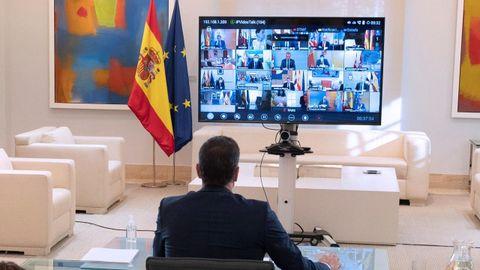 Pedro Sánchez, durante la conferencia de presidentes por videoconferencia