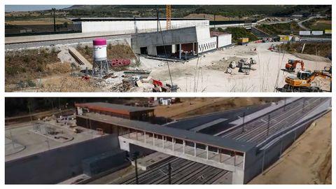 Obras de las estaciones de A Gudiña -imagen superior- y Sanabria