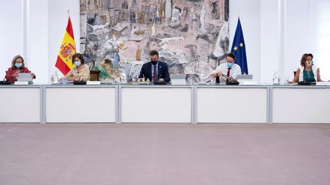 Imagen del presidente Pedro Sánchez durante la reunión del consejo de ministros el pasado 1 de septiembre en la Moncloa