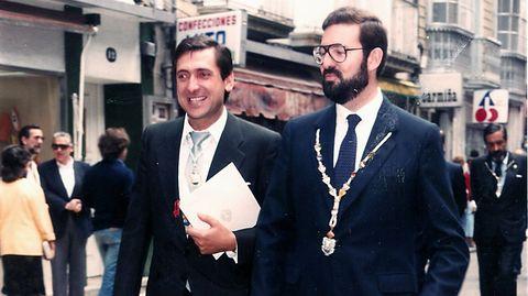 Rivas Fontán, paseando por Pontevedra junto a Rajoy