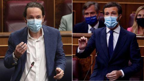 Pablo Iglesias y Pablo Casado, en el Congreso de los Diputados