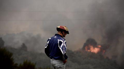Incendio forestal en el municipio ourensano de Cualedro, durante el pasado verano