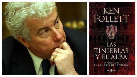 A la izquierda, el escritor Ken Follett, retratado por Benito Ordóñez. A la derecha, portada de su última novela, «Las tinieblas y el alba», que edita Plaza y Janés