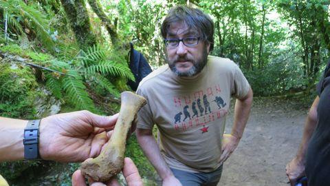 Arturo de Lombera examina un hueso fósil de animal desenterrado en las excavaciones del yacimiento paleolítico de Cova Eirós —en el municipio de Triacastela—, en una imagen de archivo
