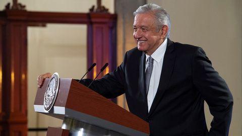 Andrés Manuel López Obrador, este martes, en el palacio presidencial en Ciudad de México