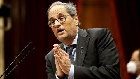 El expresidente de la Generalitat, Quim Torra, en el Parlamento de Cataluña