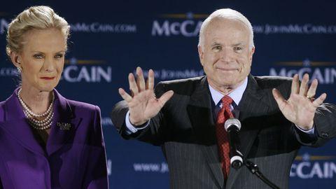Cindy McCain, durante la campaña a las presidenciales de su marido contra Barack Obama en el 2008