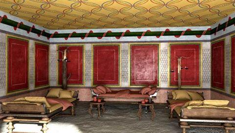 Recreación de como era la oecus, estancia para atender a las visitas de la mansión lucense