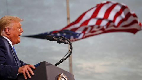 El presidente de Estados Unidos, Donald Trump, durante un mitin en Florida