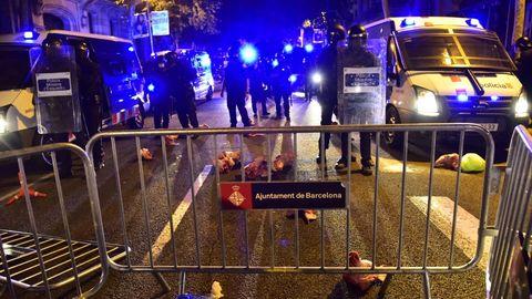 Los CDR arrojaron cabezas de cerdo esta noche contra la policía en pleno centro de Barcelona