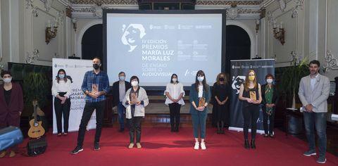 Alba González, Ester García, Iván Villarmea e José Manuel López, premios Maria Luz Morales. Os premios do audiovisual galego entregaronse na Deputacion de Pontevedra