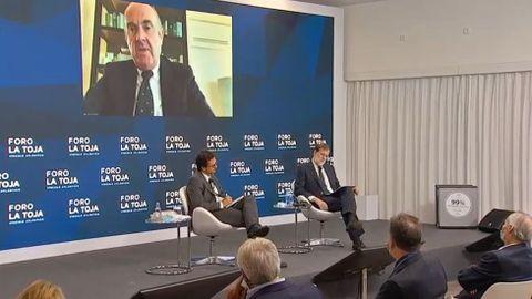 Luis de Guindos, interviniendo vía telemática en el Foro La Toja