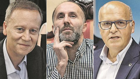 El socialista Rafael Villarino, el alcalde ourensano Gonzalo Pérez Jácome de DO, y el popular José Manuel Baltar