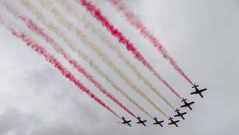 La Patrulla Águila hará su tradicional pasada durante el homenaje a los caídos pintando en el cielo los colores de la bandera