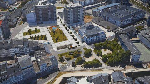 Lestegás propone una reflexión sobre la futura plaza en el solar de la estación de buses de Lugo. En la imagen una infografía que aportó la Xunta hace meses