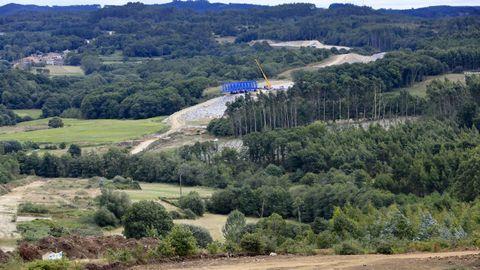 Obras del viaducto del río Pambre de la A-54, que tendrá una longitud de un kilómetro