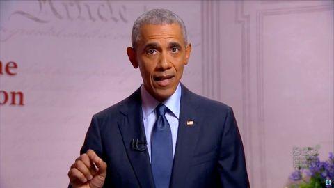 Barack Obama, durante su intervención virtual en la convención democrata del pasado agosto
