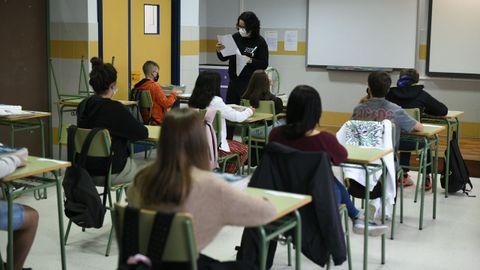 Imagen de archivo de una clase en un instituto gallego este curso