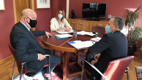 Vázquez Mao, Lara Méndez y Agustín Hernández, en la reunión de este viernes