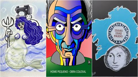 Tres das homenaxes a Isaac Díaz Pardo: de esquerda a dereita, obras de Noemí López, Xaquín Marín e mais Ekaterina Volkova
